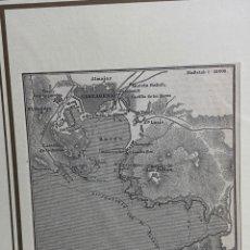 Arte: GRABADO ORIGINAL. MAPA PUERTO CARTAGENA, CASTILLO GALERAS, CASTILLO DE SAN JULIÁN... CIRCA 1890. Lote 260080050