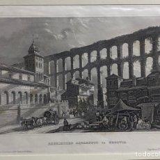 Arte: GRABADO ORIGINAL. ACUEDUCTO Y MERCADO DE SEGOVIA. CIRCA 1860. Lote 260085635