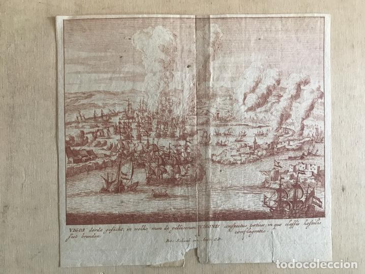 Arte: Plano y vista de la batalla naval de Rande o Vigo ( Pontevedra, España), 1710. Peter Schenk - Foto 2 - 261531635