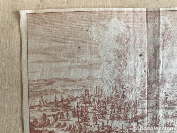 Arte: Plano y vista de la batalla naval de Rande o Vigo ( Pontevedra, España), 1710. Peter Schenk - Foto 3 - 261531635