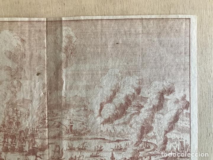 Arte: Plano y vista de la batalla naval de Rande o Vigo ( Pontevedra, España), 1710. Peter Schenk - Foto 4 - 261531635