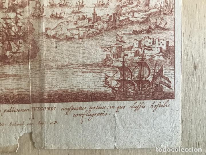Arte: Plano y vista de la batalla naval de Rande o Vigo ( Pontevedra, España), 1710. Peter Schenk - Foto 5 - 261531635