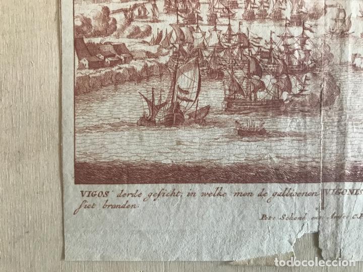 Arte: Plano y vista de la batalla naval de Rande o Vigo ( Pontevedra, España), 1710. Peter Schenk - Foto 6 - 261531635