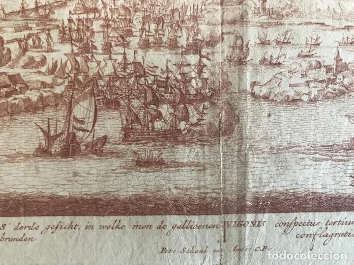 Arte: Plano y vista de la batalla naval de Rande o Vigo ( Pontevedra, España), 1710. Peter Schenk - Foto 7 - 261531635