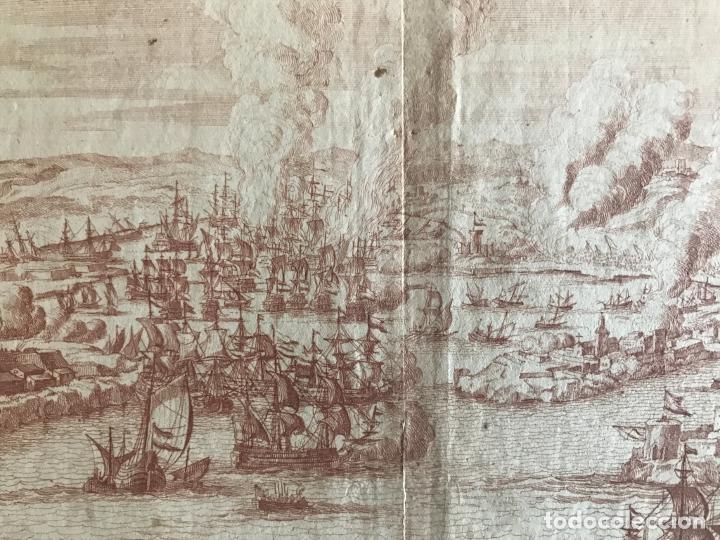 Arte: Plano y vista de la batalla naval de Rande o Vigo ( Pontevedra, España), 1710. Peter Schenk - Foto 8 - 261531635