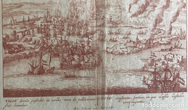 PLANO Y VISTA DE LA BATALLA NAVAL DE RANDE O VIGO ( PONTEVEDRA, ESPAÑA), 1710. PETER SCHENK (Arte - Cartografía Antigua (hasta S. XIX))