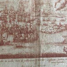 Arte: PLANO Y VISTA DE LA BATALLA NAVAL DE RANDE O VIGO ( PONTEVEDRA, ESPAÑA), 1710. PETER SCHENK. Lote 261531635