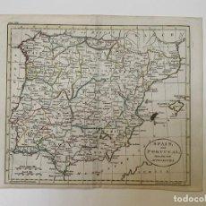 Art: MAPA ANTIGUO SIGLO XVIII ESPAÑA PORTUGAL GIBRALTAR 1785 - ROBINSON DILLY. Lote 264227312
