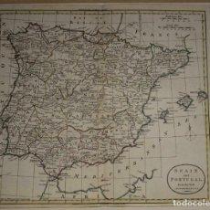 Arte: MAPA A COLOR DE MAPA Y PORTUGAL, 1785. WILLIAM GUTHRIE. Lote 264241536