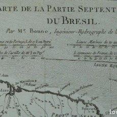 Arte: MAPA DEL NORTE DE BRASIL (AMÉRICA DEL SUR), 1780. BONNE/RAYNAL. Lote 264313188