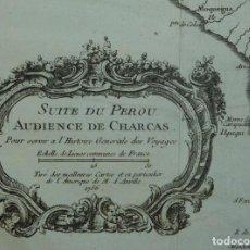 Arte: MAPA DE PERÚ, CHILE Y BOLIVIA (AMÉRICA DEL SUR), 1756. BELLIN/PREVOST/ANVILLE. Lote 264318404