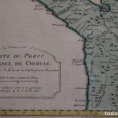 Arte: MAPA A COLOR DE PERÚ, CHILE Y BOLIVIA (AMÉRICA DEL SUR), 1756. BELLIN/ANVILLE. Lote 264319512