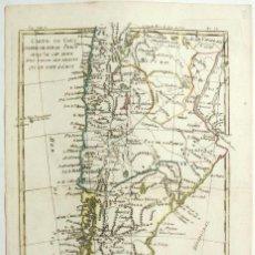 Arte: MAPA A COLOR DE ARGENTINA Y CHILE (AMÉRICA DEL SUR), 1780. BONNE/RAYNAL. Lote 264322204