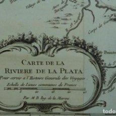 Arte: MAPA DEL RÍO DE LA PLATA ( ARGENTINA-URUGUAY), 1754. BELLIN/PREVOST. Lote 264323276