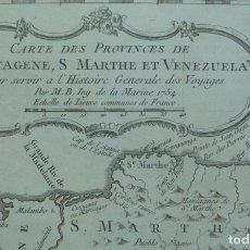 Arte: MAPA DEL NORTE DE COLOMBIA Y VENEZUELA (AMÉRICA DEL SUR), 1754. BELLIN/PREVOST. Lote 264325808