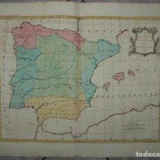 Arte: GRAN MAPA A COLOR DE ESPAÑA Y PORTUGAL, 1755. PAILARET. Lote 265174684