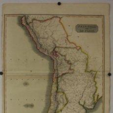 Arte: GRAN MAPA A COLOR DE PERÚ, CHILE , ARGENTINA...1816. JOHN THOMSON. Lote 265176074