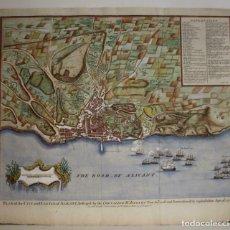 Art: GRAN PLANO A COLOR DE LA BATALLA DE ALICANTE (ESPAÑA), 1745. BASIRE/RAPIN/TINDAL. Lote 266940284