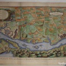 Arte: GRAN PLANO A COLOR DEL PUERTO DE MAHÓN (MENORCA, ISLAS BALEARES, ESPAÑA), 1745. BASIRE/TINDAL/RAPIN. Lote 266943419