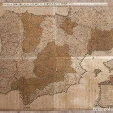 Arte: LE GRAND THEATRE DE LA GUERRE EN ESPAGNE & EN PORTUGAL. SIGLO XVIII. MAPA 93X118 CM ÉPOCA CARLOS III. Lote 267077874