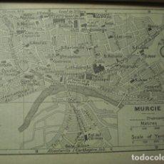Art: MURCIA RARO PLANO DE LA CIUDAD - GRABADO LITOGRÁFICO AÑO 1927 - MEDIDAS 15 X 10 CM APROX. Lote 267302619