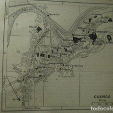 Arte: CUENCA RARO PLANO DE LA CIUDAD - GRABADO LITOGRÁFICO AÑO 1935 - MEDIDAS 9 X 8 CM APROX. Lote 267422224