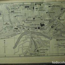 Arte: MURCIA RARO PLANO DE LA CIUDAD - GRABADO LITOGRÁFICO AÑO 1935 - MEDIDAS 15 X 10 CM APROX. Lote 267422379