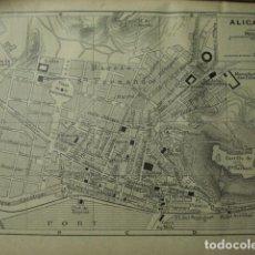 Arte: ALICANTE RARO PLANO DE LA CIUDAD - GRABADO LITOGRÁFICO AÑO 1935 - MEDIDAS 15 X 10 CM APROX. Lote 267422399