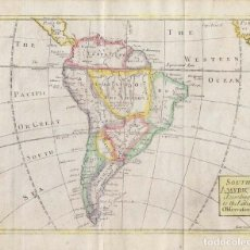 Arte: MAPA A COLOR DE AMÉRICA DEL SUR, 1722. JOHN SENEX. Lote 268299914
