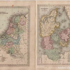 Arte: MAPAS DE DINAMARCA, HOLANDA Y BÉLGICA (EUROPA), 1834. T. STARLING/E. BULL. Lote 268305264