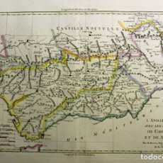 Arte: MAPA A COLOR DE ANDALUCÍA Y MURCIA (ESPAÑA), 1788. BONNE/ANDRÉ. Lote 268310414