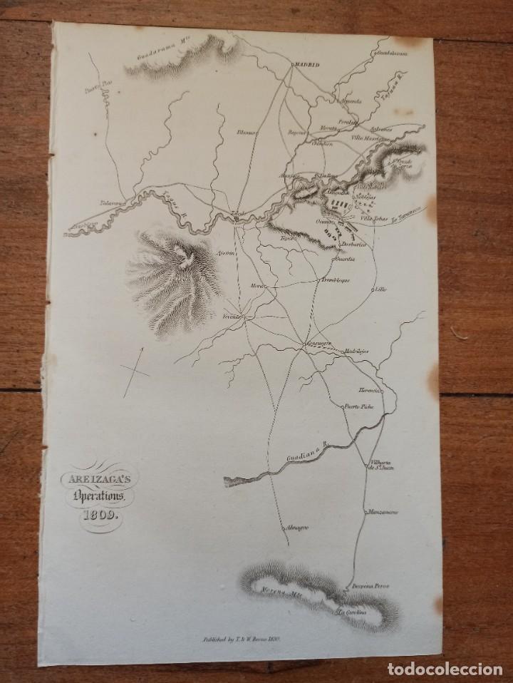 Arte: MAPA ARÉIZAGA,BATALLA OCAÑA, TOLEDO, GUERRA INDEPENDENCIA, ORIGINAL, 1831. LONDRES, NAPIER. - Foto 2 - 268615644
