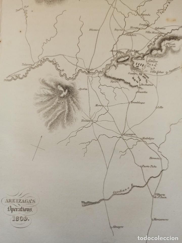 Arte: MAPA ARÉIZAGA,BATALLA OCAÑA, TOLEDO, GUERRA INDEPENDENCIA, ORIGINAL, 1831. LONDRES, NAPIER. - Foto 3 - 268615644