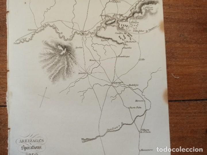 Arte: MAPA ARÉIZAGA,BATALLA OCAÑA, TOLEDO, GUERRA INDEPENDENCIA, ORIGINAL, 1831. LONDRES, NAPIER. - Foto 5 - 268615644