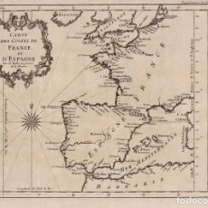 Arte: MAPA ANTIGUO SIGLO XVIII EUROPA ESPAÑA PORTUGAL FRANCIA 1749 - BELLIN. Lote 268883889