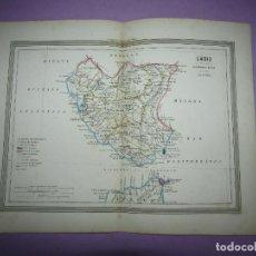 Arte: ANTIGUO MAPA DE CÁDIZ EN LITOGRAFÍA POR MARTÍN FERREIRO DE GASPAR Y ROIG EDITORES - AÑO 1852-1864. Lote 269251103