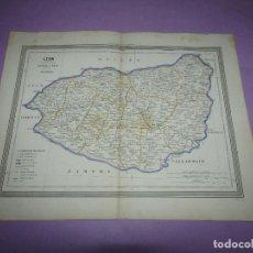 Arte: ANTIGUO MAPA DE LEÓN EN LITOGRAFÍA POR MARTÍN FERREIRO DE GASPAR Y ROIG EDITORES - AÑO 1852-1864. Lote 269253703
