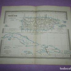 Arte: MAPA ISLA DE PUERTO RICO POSESIONES ESPAÑOLAS DE ULTRAMAR DE GASPAR Y ROIG EDITORES - AÑO 1852-1864. Lote 269263663