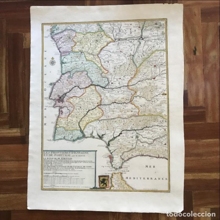 Arte: Gran mapa de Portugal y el occidente de España, 1705. N. de Fer/Starckman - Foto 2 - 269732188