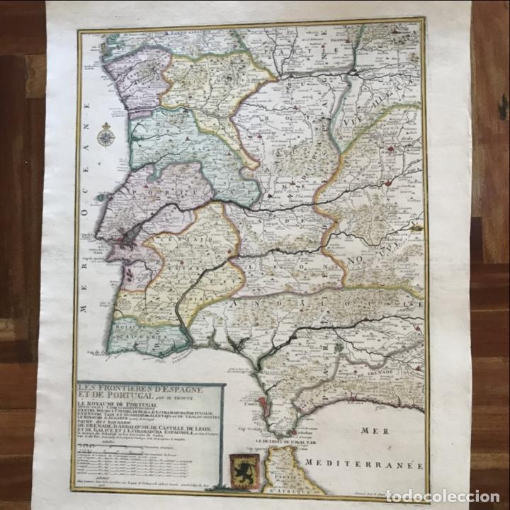 Arte: Gran mapa de Portugal y el occidente de España, 1705. N. de Fer/Starckman - Foto 3 - 269732188