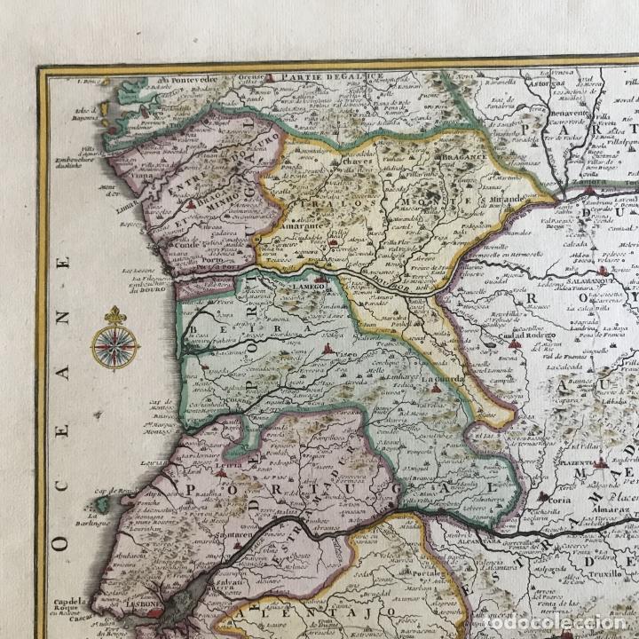 Arte: Gran mapa de Portugal y el occidente de España, 1705. N. de Fer/Starckman - Foto 4 - 269732188