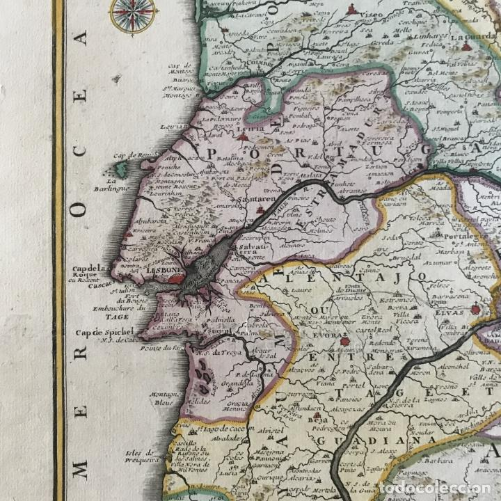 Arte: Gran mapa de Portugal y el occidente de España, 1705. N. de Fer/Starckman - Foto 6 - 269732188
