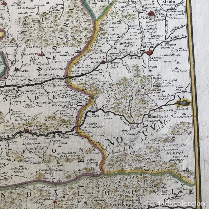 Arte: Gran mapa de Portugal y el occidente de España, 1705. N. de Fer/Starckman - Foto 7 - 269732188
