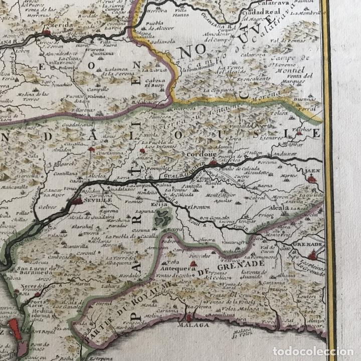 Arte: Gran mapa de Portugal y el occidente de España, 1705. N. de Fer/Starckman - Foto 8 - 269732188