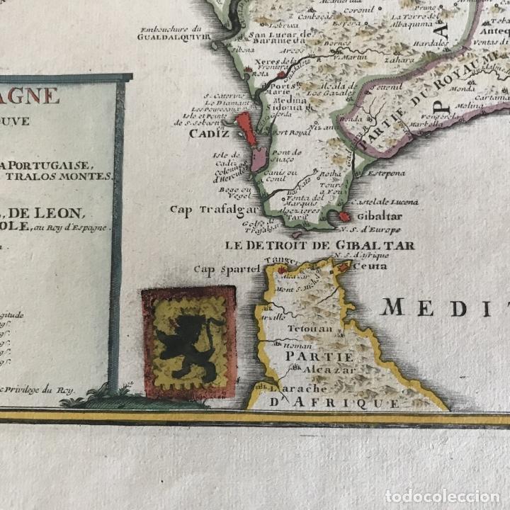 Arte: Gran mapa de Portugal y el occidente de España, 1705. N. de Fer/Starckman - Foto 10 - 269732188