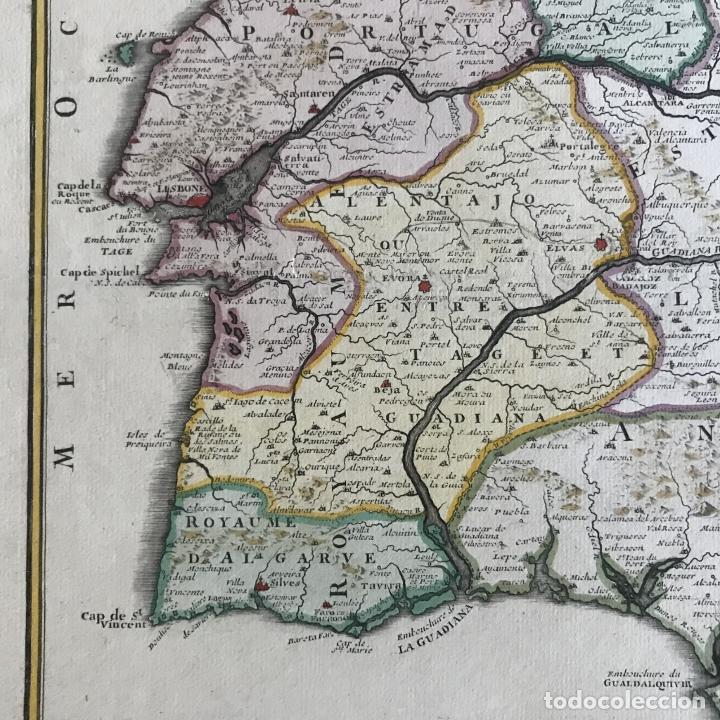 Arte: Gran mapa de Portugal y el occidente de España, 1705. N. de Fer/Starckman - Foto 12 - 269732188