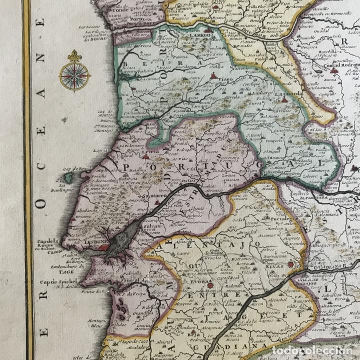 Arte: Gran mapa de Portugal y el occidente de España, 1705. N. de Fer/Starckman - Foto 13 - 269732188