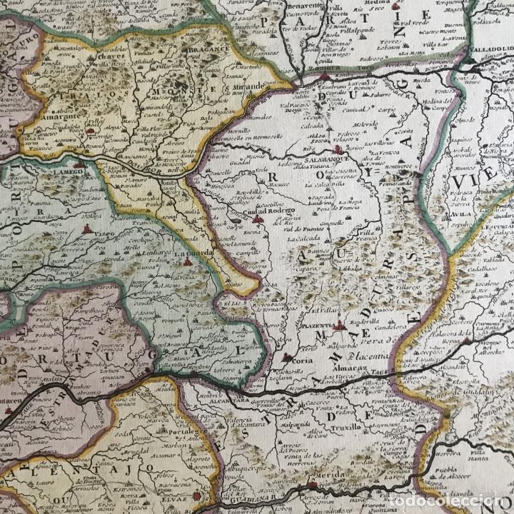 Arte: Gran mapa de Portugal y el occidente de España, 1705. N. de Fer/Starckman - Foto 14 - 269732188