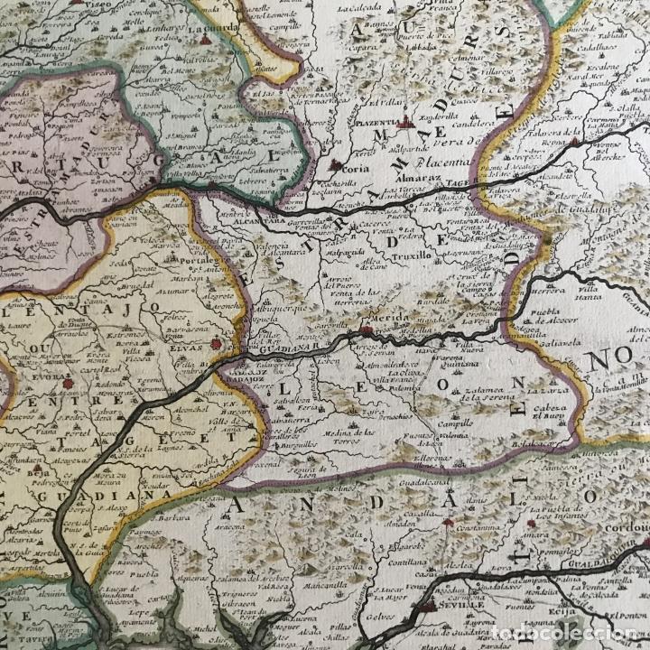Arte: Gran mapa de Portugal y el occidente de España, 1705. N. de Fer/Starckman - Foto 15 - 269732188