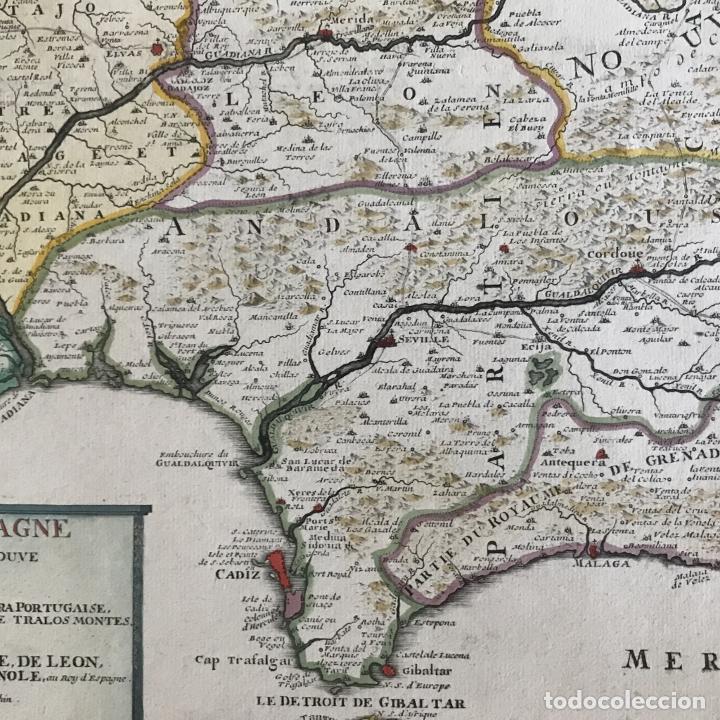Arte: Gran mapa de Portugal y el occidente de España, 1705. N. de Fer/Starckman - Foto 16 - 269732188
